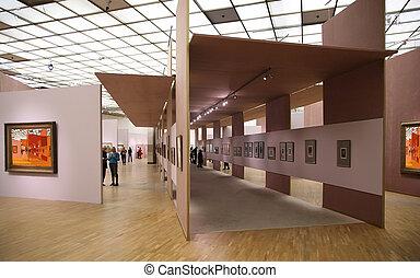 in, de, kunstgalerie, 2., alles, beelden op muur, zelfs,...