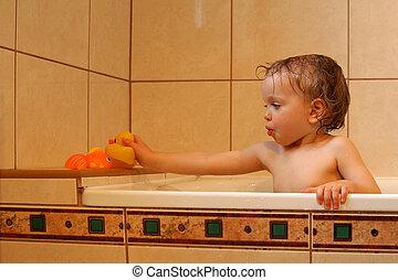 in, den, badrum