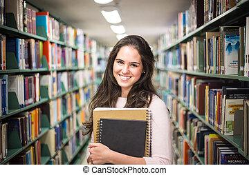 in, den, bibliotek, -, nätt, kvinnligt studerande, med,...