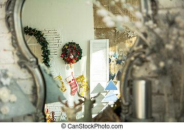 in, der, reflexion, spiegel, adventskranz
