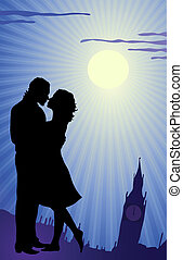 In England - Vector illustration of couple kissing during ...