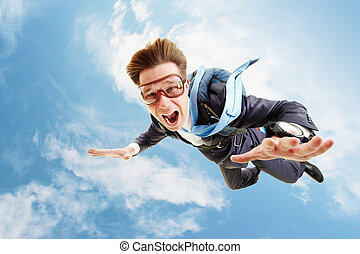 In flight - Conceptual image of young businessman flying ...