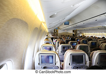 airplane interior - In-flight image of an airplane interior...
