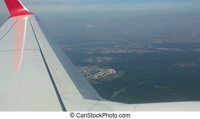 In flight - View from the airplane before landing at ...