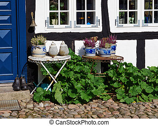 In front facade of a traditional country style Danish house Denmark