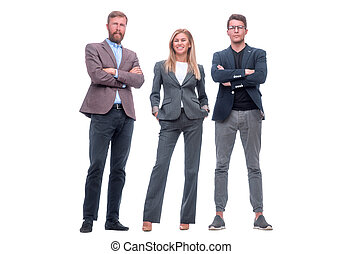 in full growth. a group of confident business people.