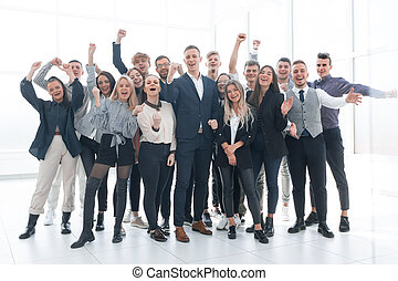 group of happy young business people celebrating together - ...