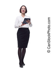 adult business woman using a calculator . isolated on a white background.
