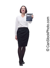 adult business woman with a calculator . isolated on a white background.