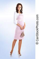 beautiful woman model in elegant white dress.