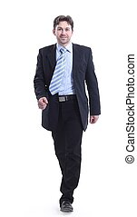 in full growth. businessman goes forward.isolated on a white