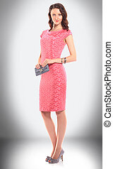 charming woman model in stylish dress and fashion accessories