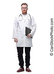 confident doctor the therapist with a clipboard. isolated on white