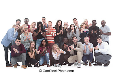 in full growth. large international group of happy people applauding together . isolated on a white background.