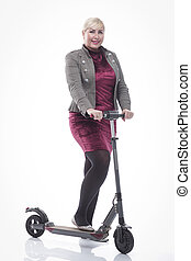 modern young woman with an electric scooter. isolated on a white