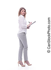 in full growth. young business woman with clipboard