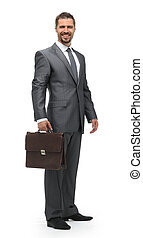 in full growth.businessman with a briefcase.