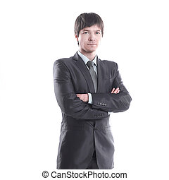 in full growth.portrait of a handsome businessman .isolated on white background