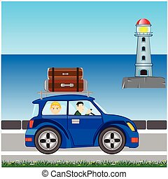 In furlough on car - Vector illustration of the blue car...