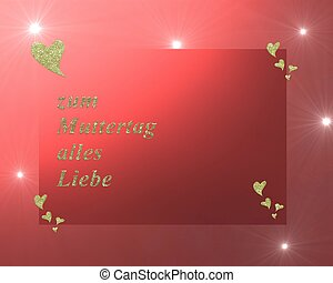 in German letters, all love for mothers day