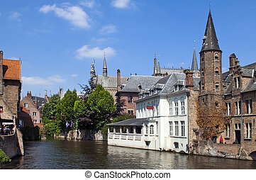 in Ghent, Belgium - Ghent, Belgium, on river leie and the...