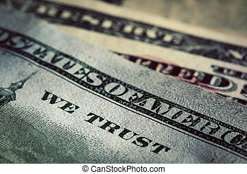 In God We Trust motto on One Hundred Dollars bill....