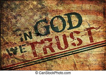 in, gud, vi, förtroende