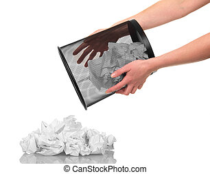 In hands basket with paper waste isolated on white.