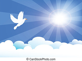 in heaven - vector illustration of heaven with sun and ...