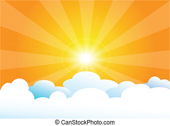 vector illustration of heaven with sun and clouds