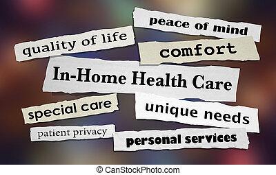 in-home, здоровье, забота, газета, headlines, 3d, иллюстрация
