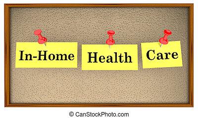 in-home, здоровье, забота, доска объявлений, words, 3d, иллюстрация