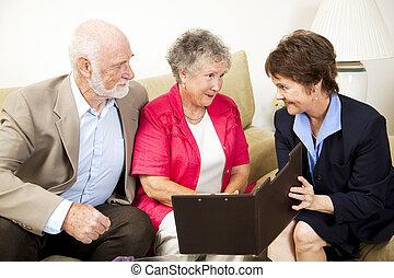 in-home, réunion, ventes