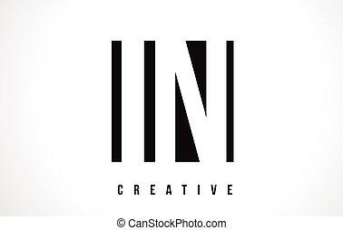 IN I N White Letter Logo Design with Black Square.