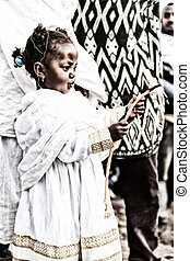 in lalibela ethiopia a young girl  in  the  celebration