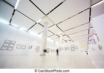 In large show-room demonstrate pictures