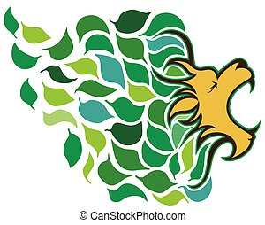In Like A Lion - Stylized march lion made up mostly of...