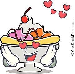 In love banana split mascot cartoon vector illustration