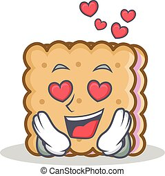 In love biscuit cartoon character style