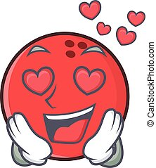 In love bowling ball character cartoon