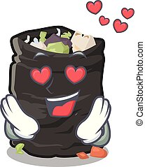 In love cartoon garbage bag next to table vector illustration