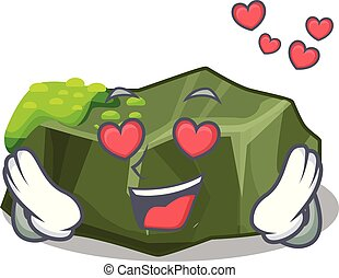 In love cartoon large stone covered with green moss vector...
