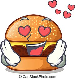In love cheese burger located on plate cartoon