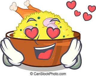 In love chicken biryani isolated in the mascot