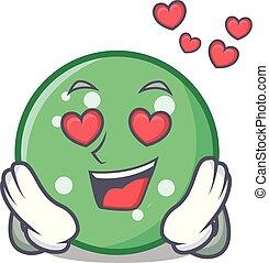 In love circle mascot cartoon style