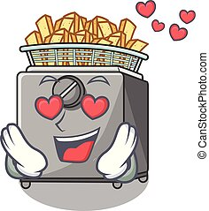 In love cooking french fries in deep fryer cartoon vector...