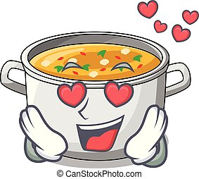 In love cooking pot of soup isolated on mascot