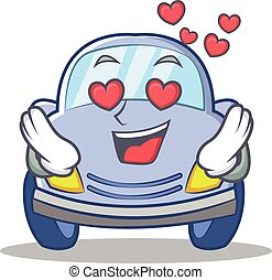 In love cute car character cartoon