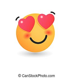 In love emoticon. Isolated vector illustration on white background