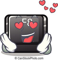 In love f8 button installed on computer mascot